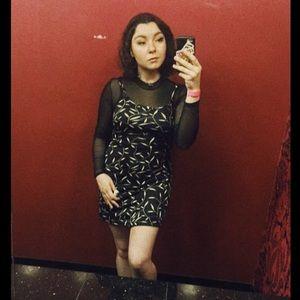 • Vintage • 90s black print mini dress